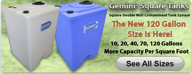 Gemini Square Plastic Tanks 120 Gallon Size
